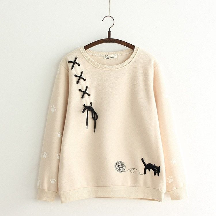 Kawaii Japanese Cat Embroidered Sweatshirt – Limited Edition