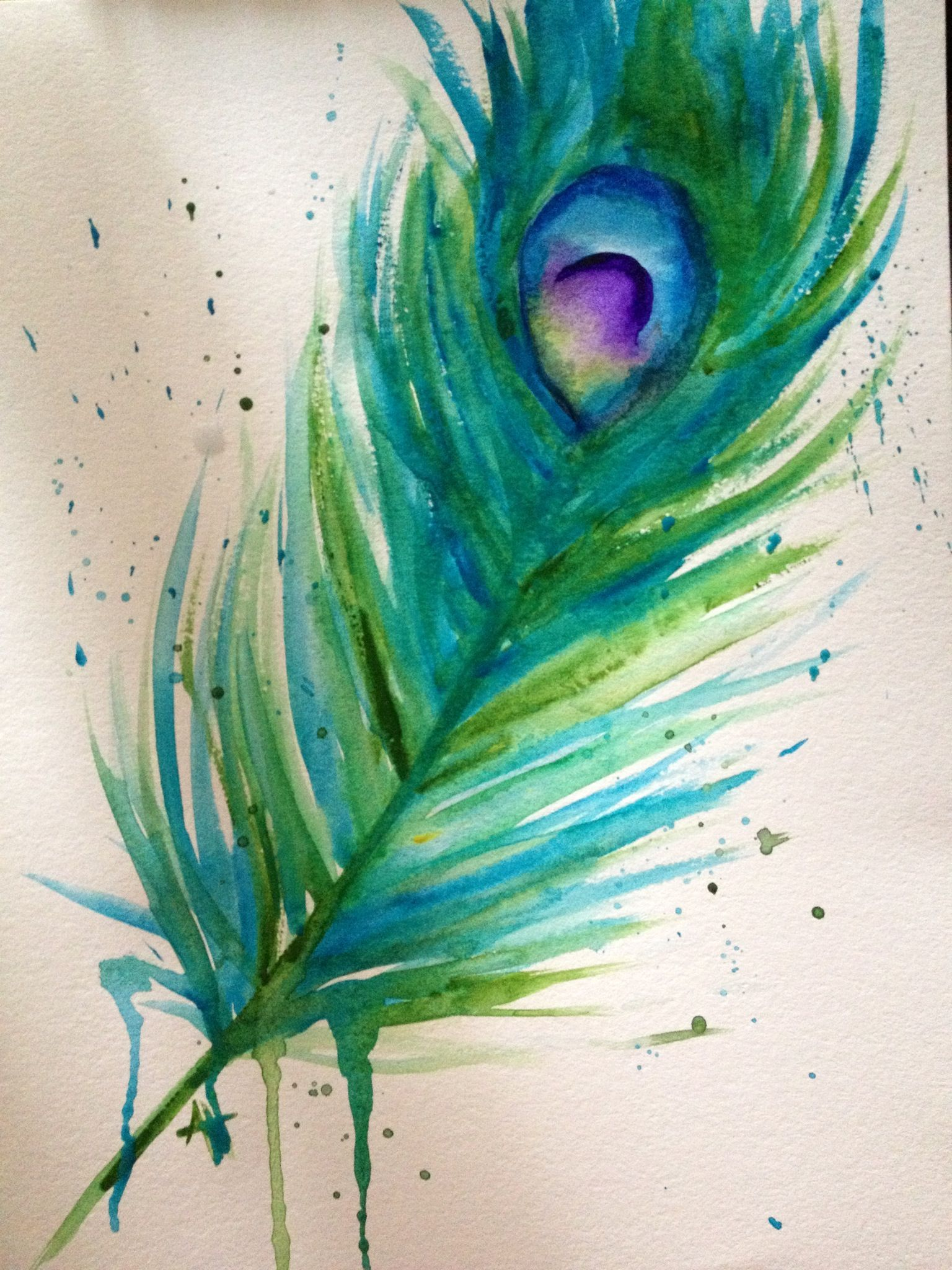 b32716ac3 Watercolor peacock feather art #peacockfeather #feather #peacock #watercolor