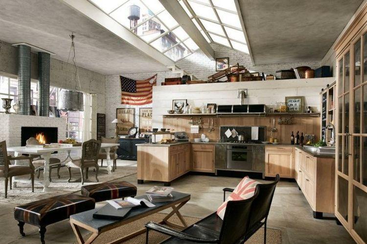 beton industrial design inneneinrichtung dachfenster küche - inneneinrichtung