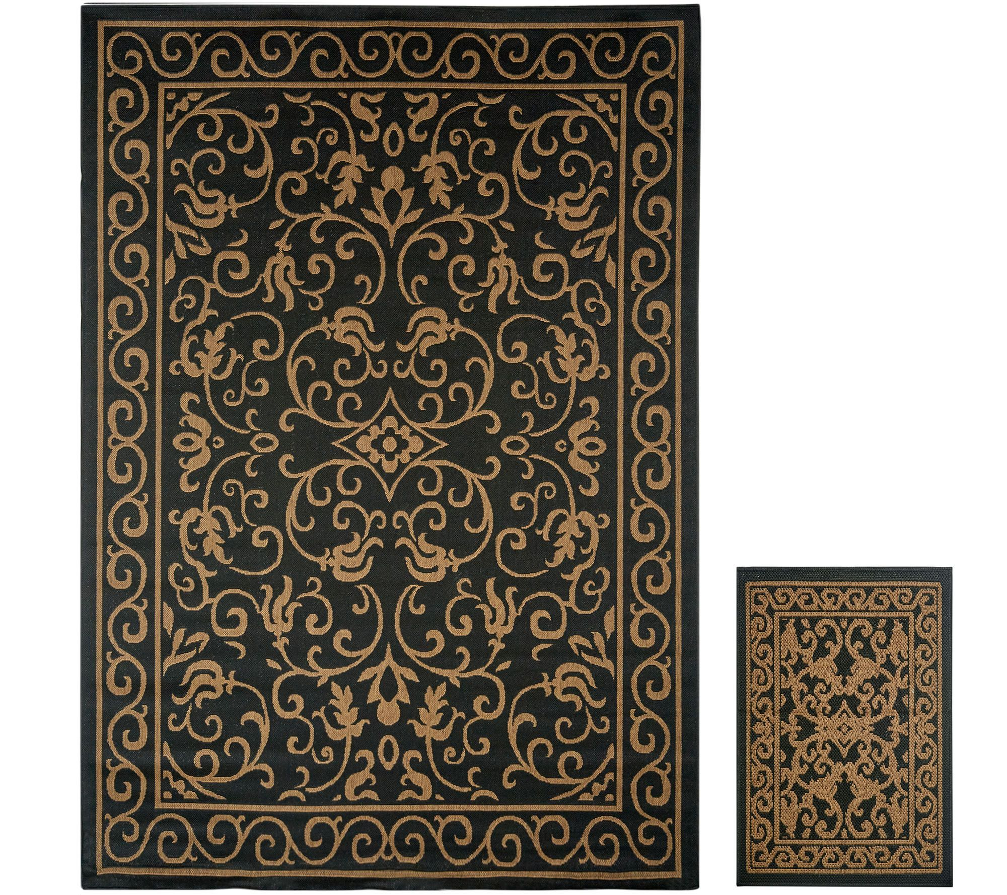 Veranda Living 5x7 Reversible Indoor Outdoor Scroll Rug With Bonus Doormat Qvc