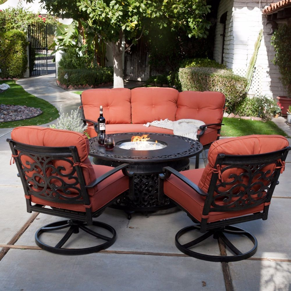 Attirant 4 Piece Outdoor Patio Deck Furniture Set Round Table Gas Fire Pit 48 Inch  Diam. #Belham