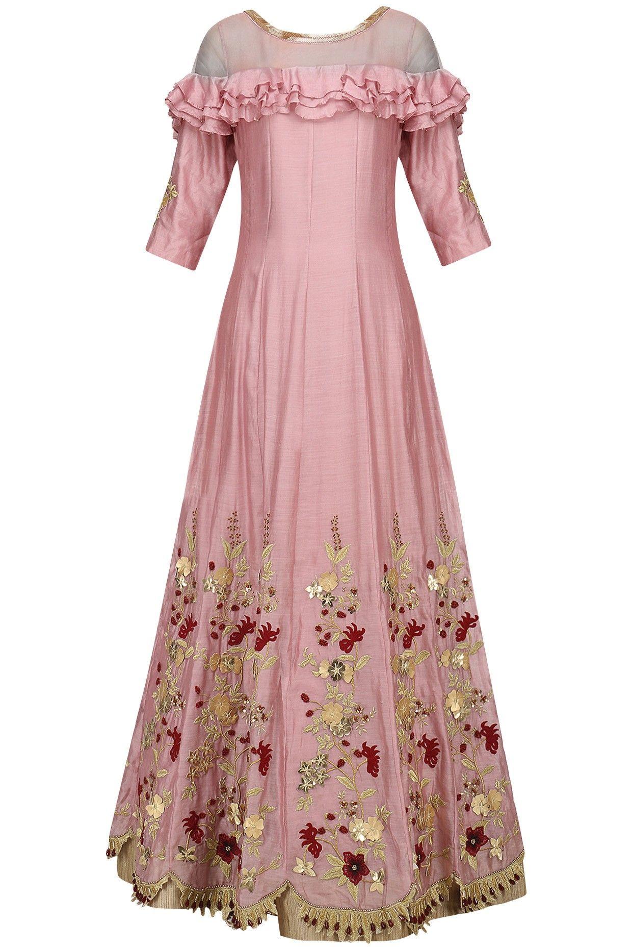 VARSHA WADHWA Pink Zari-Sequins-Cutdana Embroidered Anarkali Set ...