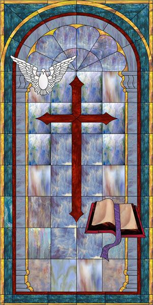 Religious Stained Gl Window Film Cross Design With Dove And Decorative
