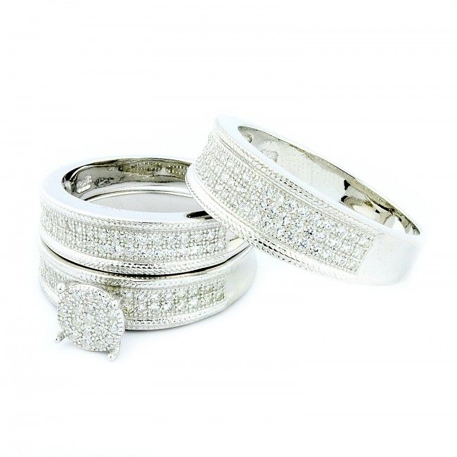 His Her Mens And Woman Diamonds Wedding Ring Bands Trio Bridal Set 925 Silver Diamo Wedding Ring Trio Sets Wedding Ring Bands Set Engagement Wedding Ring Sets