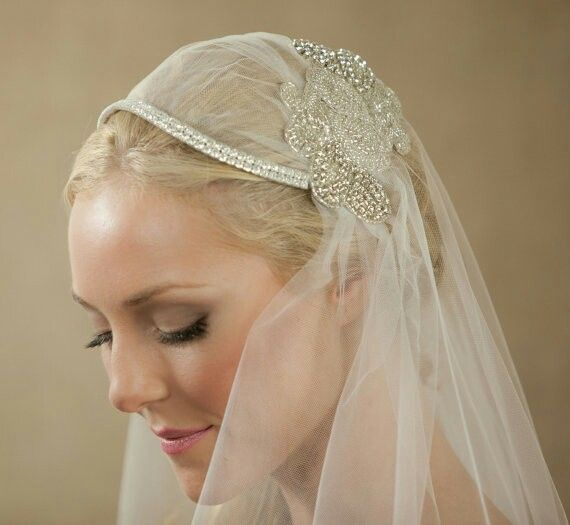 30 Creative And Unique Wedding Hairstyle Ideas: Detail Of Capped Veil + Crystals & Beading
