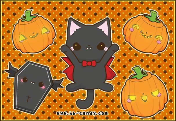 Image result for kawaii halloween kitty