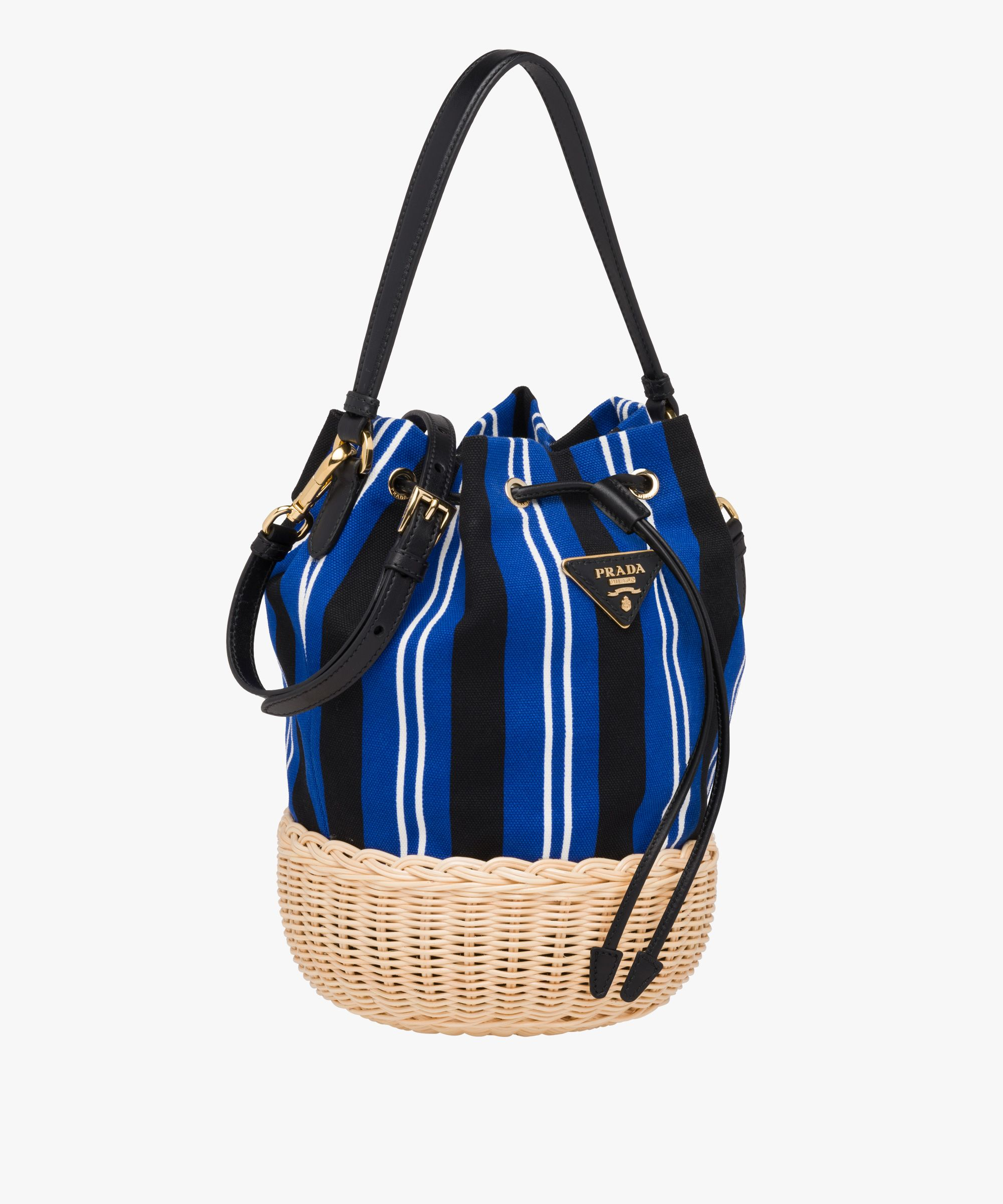 10b27b85f5381b Prada - Wicker & striped canvas shoulder bag | BAGS in 2019 | Bags ...