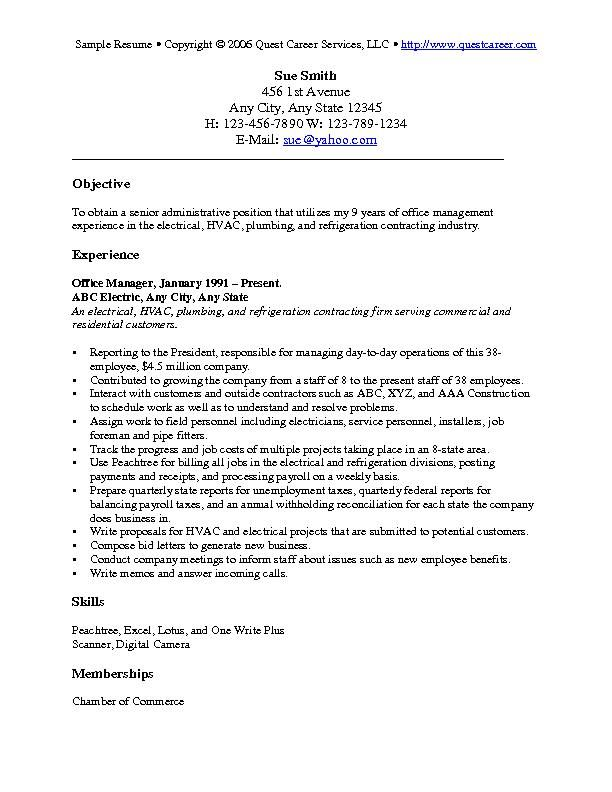 resume objective examples career for denial letter sample Home - plumbing resume
