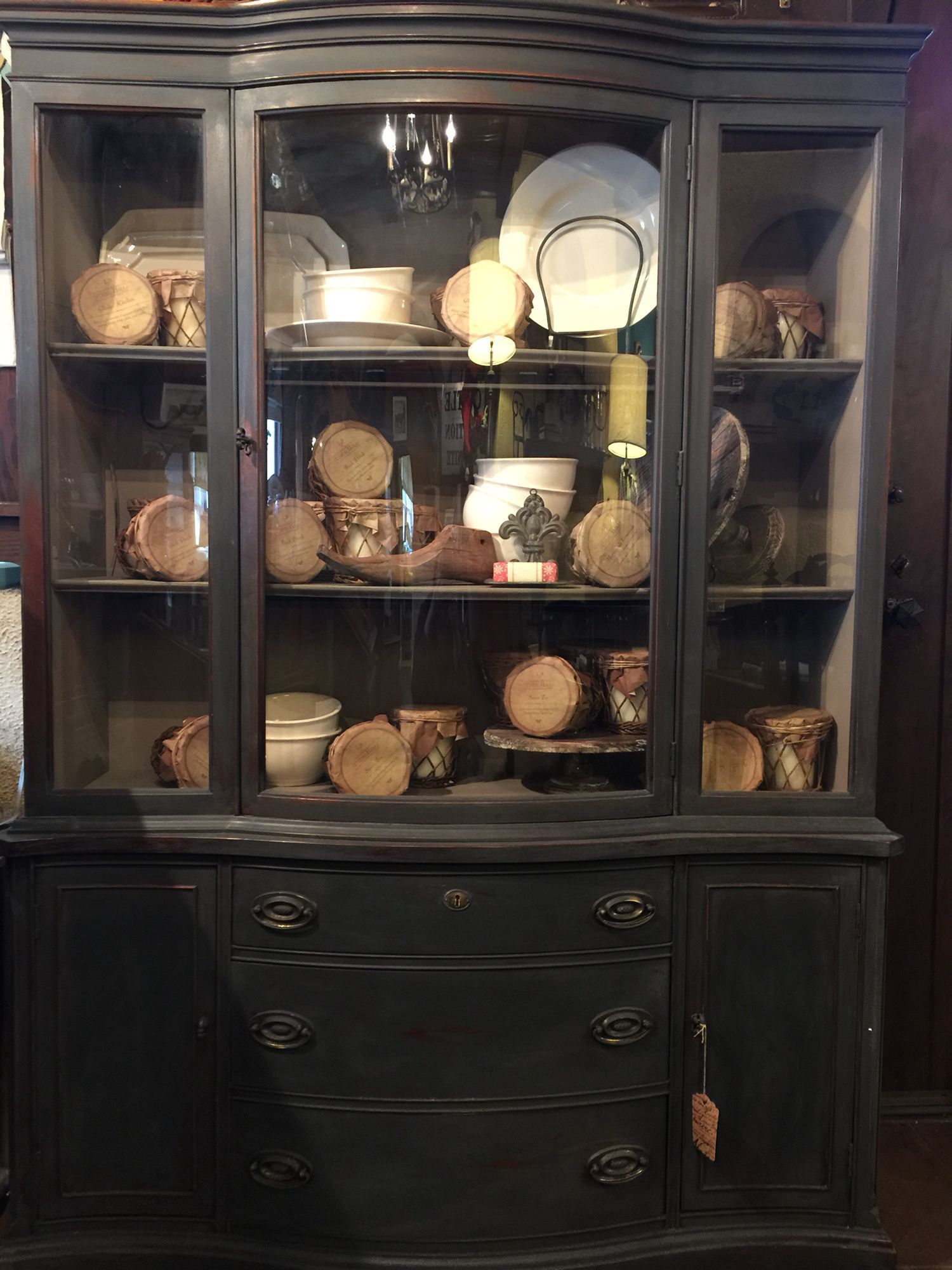 China cabinet painted with Annie Sloan Chalk Paint Graphite and Coco on the in #hair #love  #style  #beautiful  #Makeup #SkinCare #Nails #beauty #eyemakeup #style #eyes #model #MakeupMafia #NaturalBeauty #OrganicBeauty