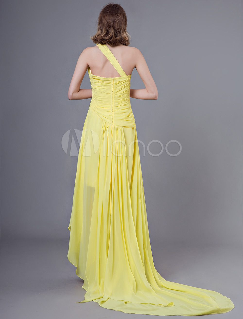 prom dresses long chiffon daffodil one shoulder asymmetrical