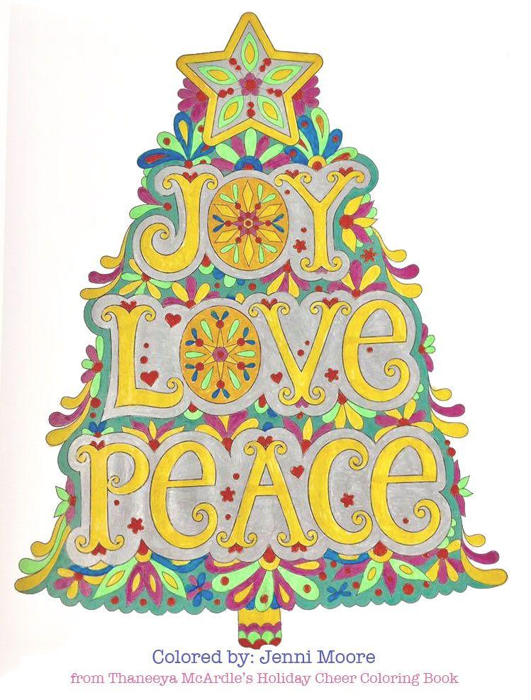 Joy Love Peace Christmas Tree coloring page by Thaneeya ...