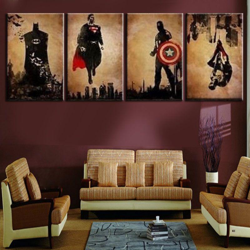 Online Buy Wholesale Superhero Canvas Art From China Superhero Canvas Art Wholesalers Artwork For Living Room Man Cave Wall Art Apartment Art