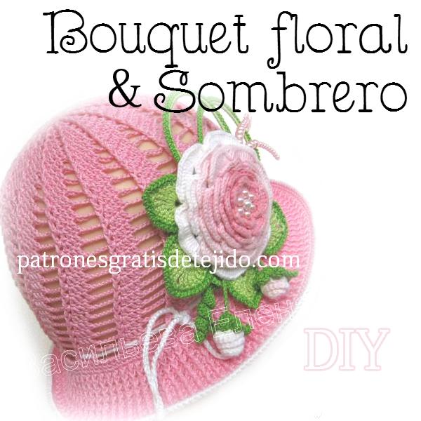Como tejer sombrero con aplique de flores Tutorial paso a paso ...