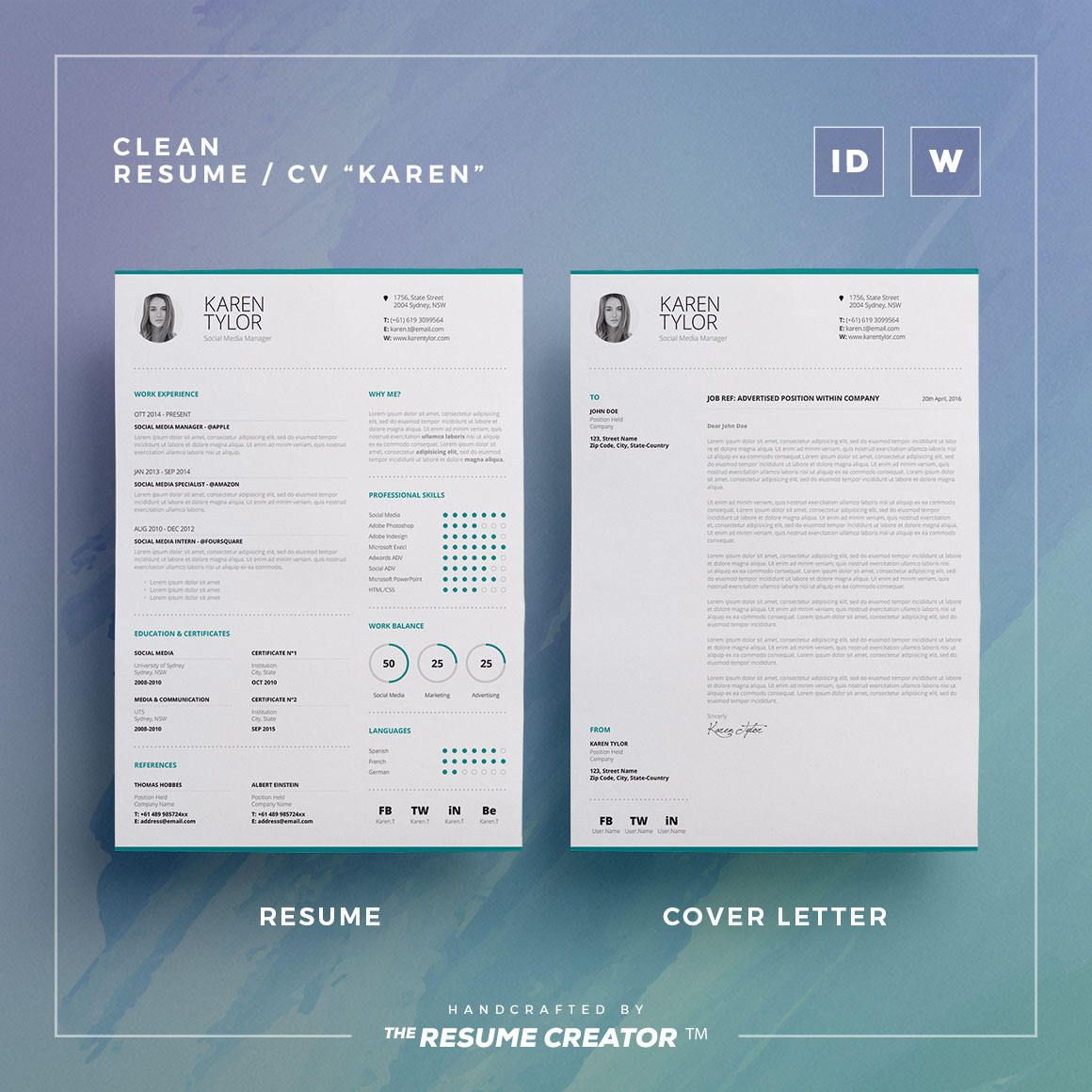 Clean Resume Vol  Word And Indesign Template  Etsy  Trc Shop
