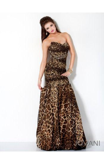 Jovani 3525 Strapless Leopard Print Prom Dress  60e3e7390