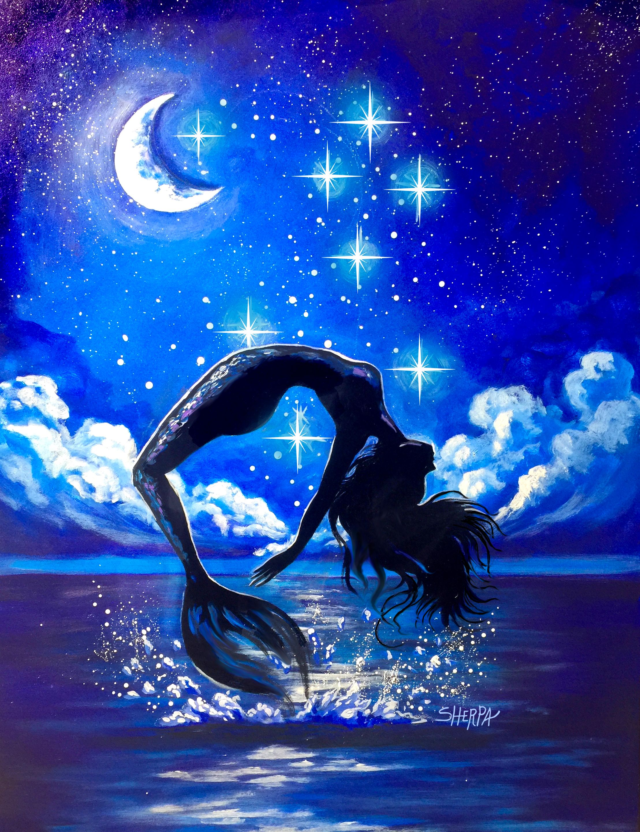 Mermaid Acrylic Painting Moon