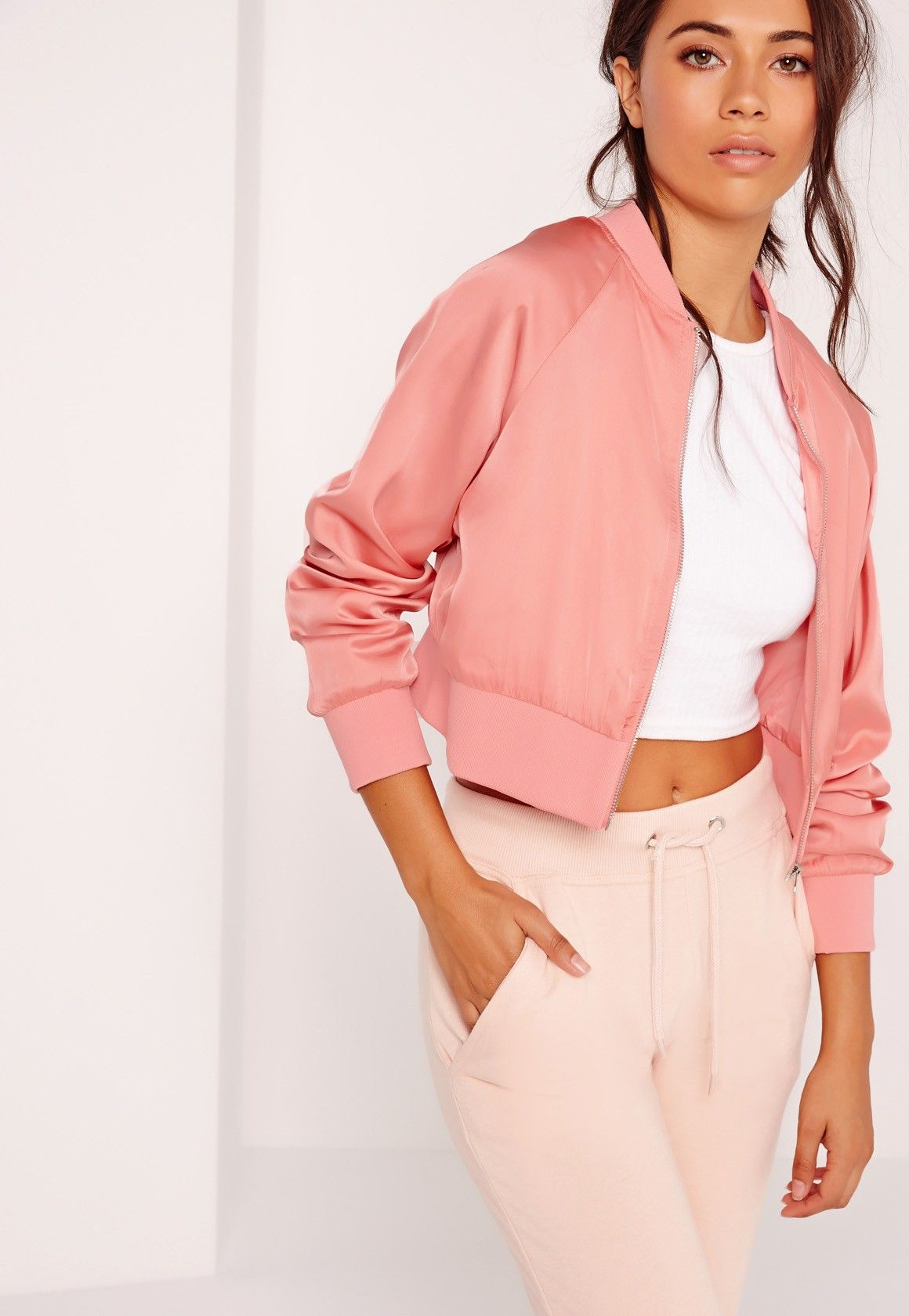 88ae7285e Missguided - Satin Cropped Bomber Jacket Pink | My Style | Pink ...