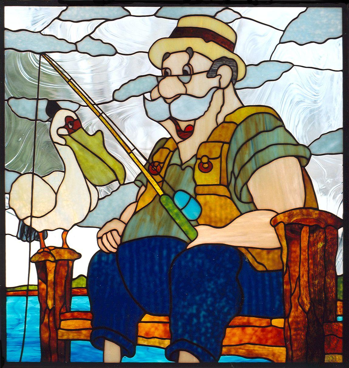 Le pecheur heberg e par zimagez people vitrail pecheur modele dessin - Dessin vitraux ...