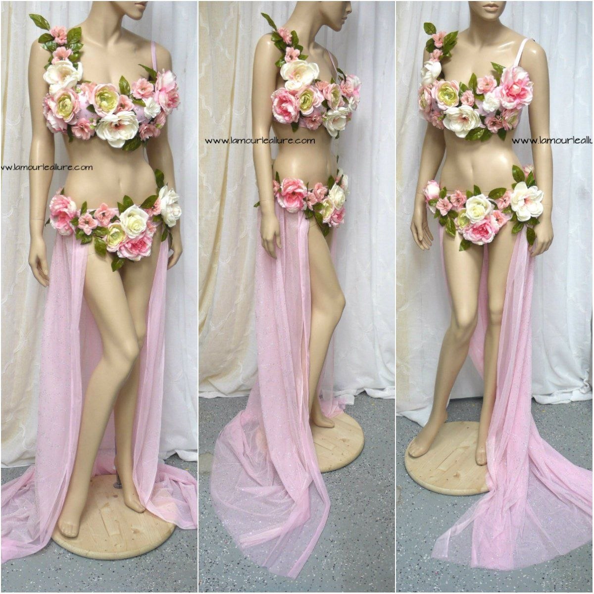 Two Piece Petal Pink Rose Fairy Gown with Train Costume | Train ...