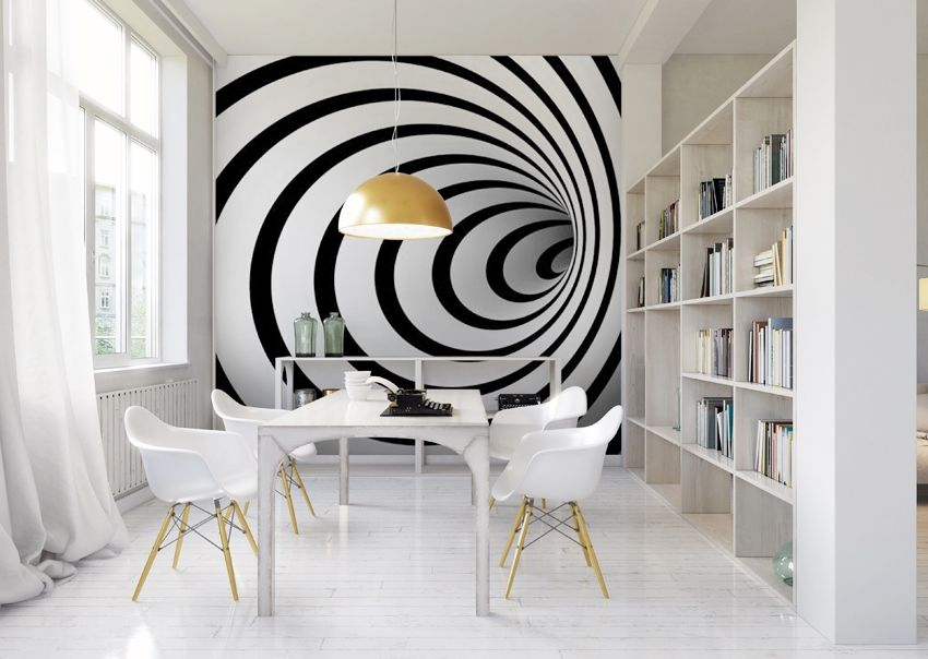 Photo Wallpaper Black And White 3d Tunnel 3d Wall Painting