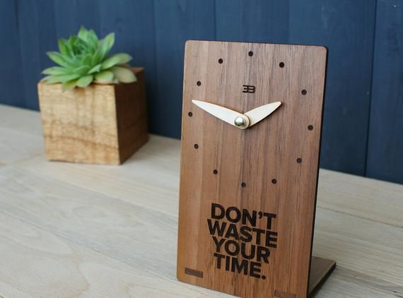 Personalized Wooden Desk Clock Custom Bedside Silent Shelf Table