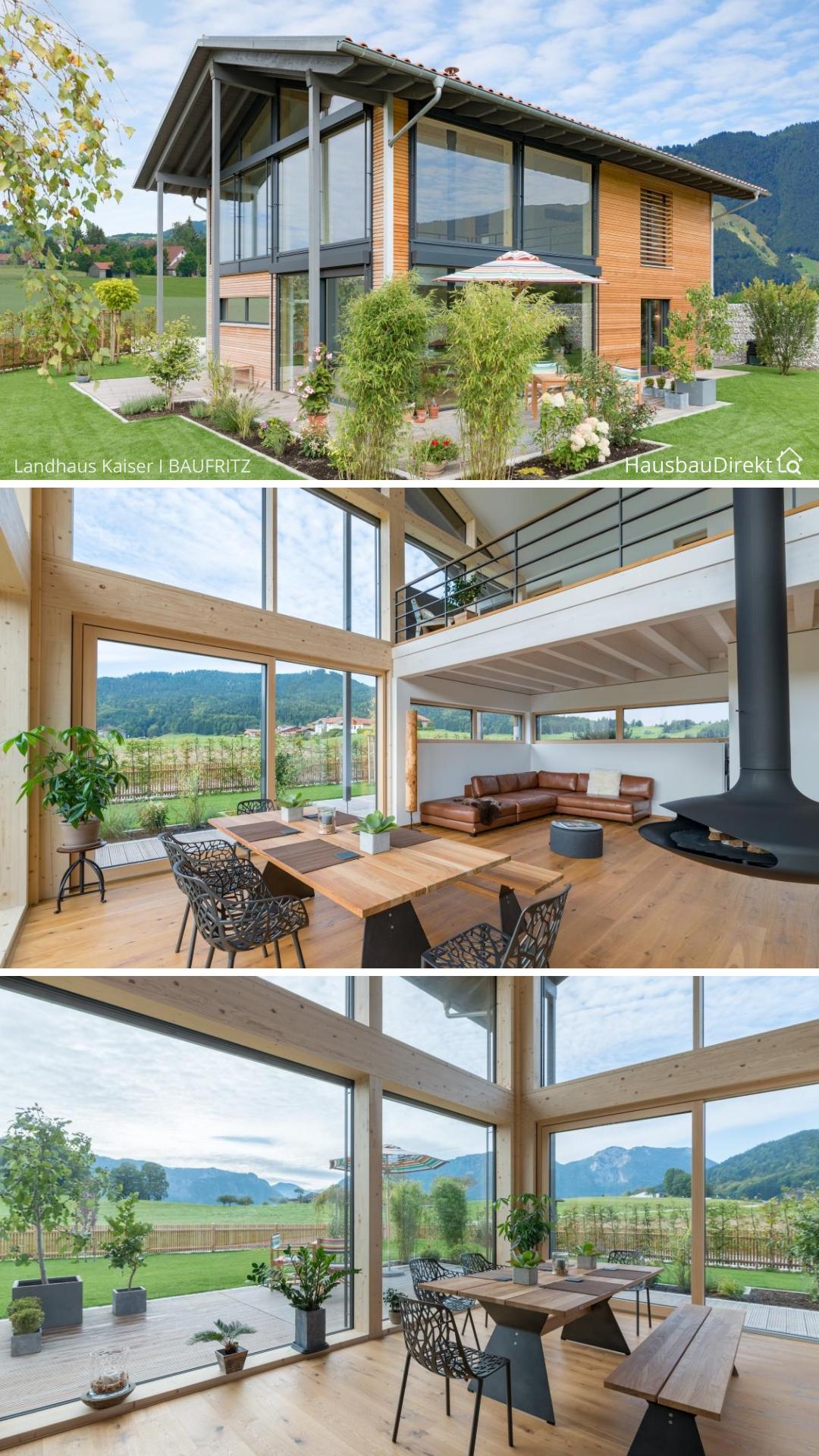 Modernes Haus Design mit viel Glas Holz Fassade & Satteldach bauen Einfamilienhaus mit Galerie