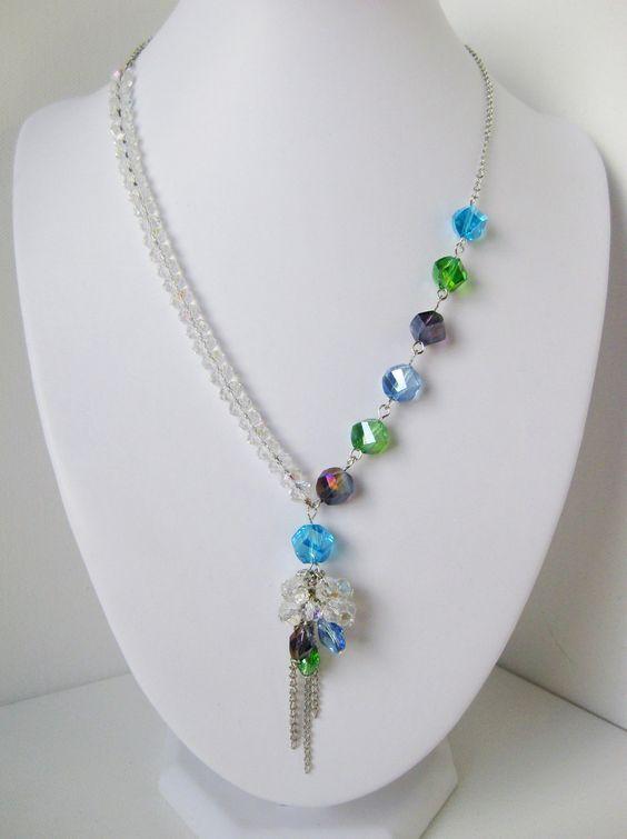 Collar de gota de racimo simétrico de cristal y pavo real – Colección de boda de pavo real …