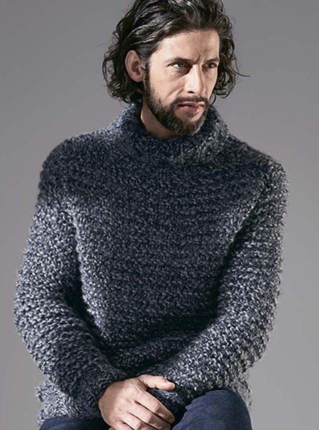 4ac92e1347ba5 мужской свитер, мужской серый свитер, мужской свитер крупной платочной  вязки, вязание для мужчин, модели вязаной одежды для мужчин, вязание  спицами, ...