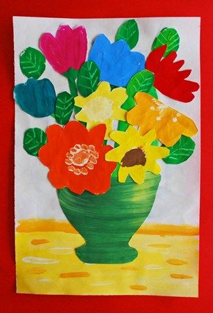 Flower Vaseoverlapping Kids Art Projects Flowers Pinterest