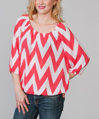 Another great find on #zulily! Coral & White Zigzag Ruched Scoop Neck Top #zulilyfinds
