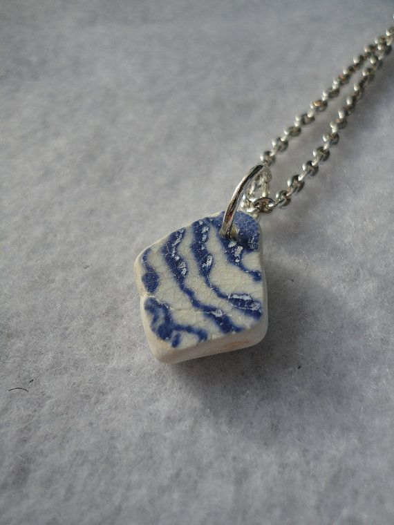Blue and white sea pottery necklace by atreasurefromthesea on Etsy, $18.99