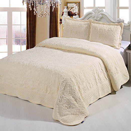 Mellanni 3 Piece Plush Coverlet Bedspread Quilt Comforter Set