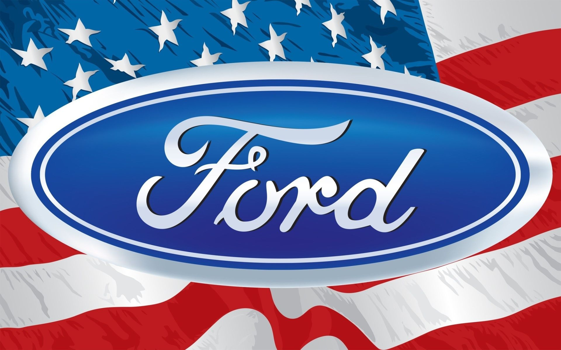 Ford Logo On The Background Of The Usa Flag Desktop Wallpapers