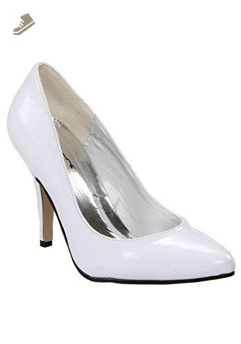 1502f6c18925e 4 Inch Heel B Width Pump Women'S Size Shoe (White;11) - Ellie shoes ...