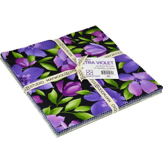"""Catalina Ultra Violet Cotton Fabric,~Layer Cake 42 -10"""" Squares ~Maywood Studio Fast Shipping LC124"""