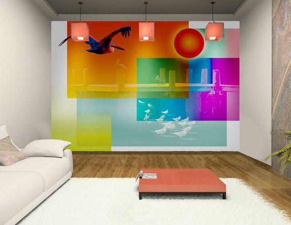 colorful living room walls. Cute Modern Colorful Living Room Wall Murals In Colors Decorations Ideas Walls 9