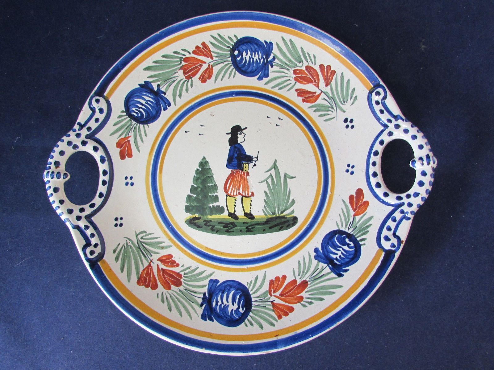 Antique Quimper France Peasant Handled Cake Plate