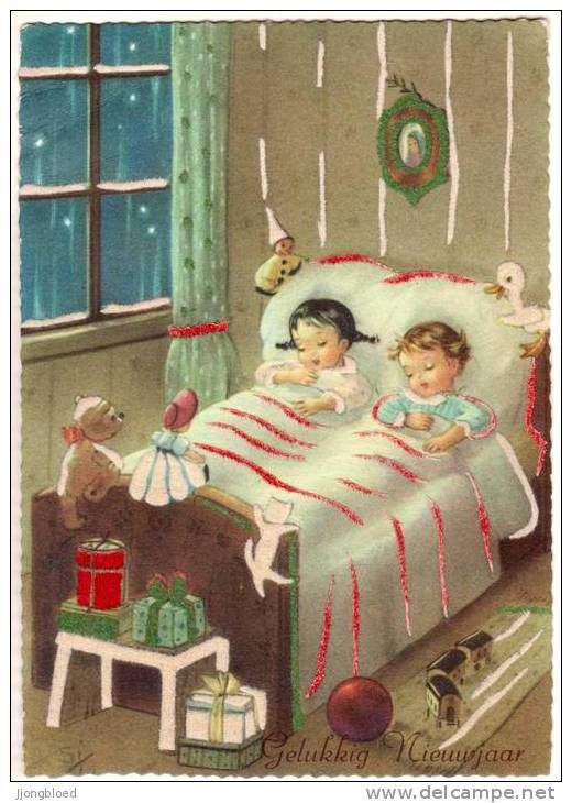 Retro Weihnachtsbilder.Brother And Sister Fast Asleep On Christmas Vintage Christmas