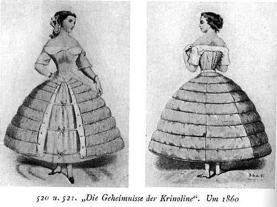 crinolina 1845 - 2 Romantico- Reemplazaban a las enaguas, que se llegaban a usar hasta 8 juntas.