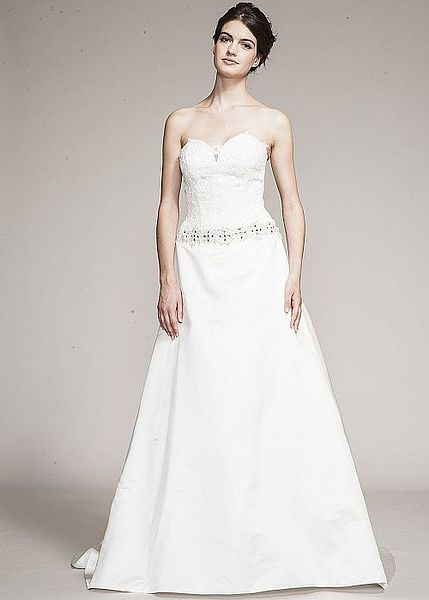 Cristiana Strapless Wedding Dress Beaded Band At Hip A Line