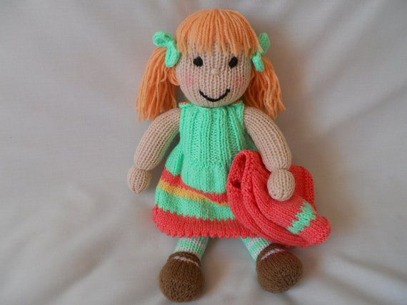 Hand Knitted Doll Holly hand made dressed doll by littledazzler ♡
