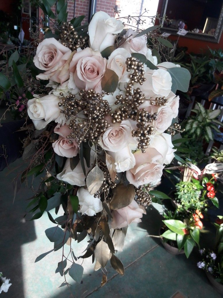 Cascading Blush White And Gold Bridal Bouquet Using Hydrangea Roses Seeded Eucalyptus