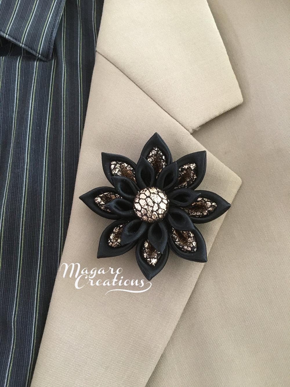 Wedding boutonniere,Men's flower lapel pin,rose gold