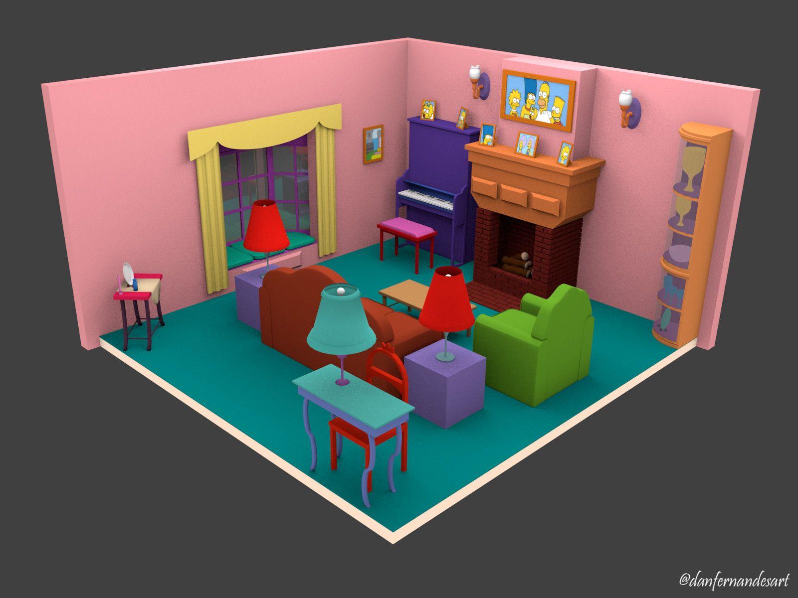 Casa Dos Simpsons Sala De Estar Casa De Los Simpson Decoracion De Unas Trucos De Minecraft