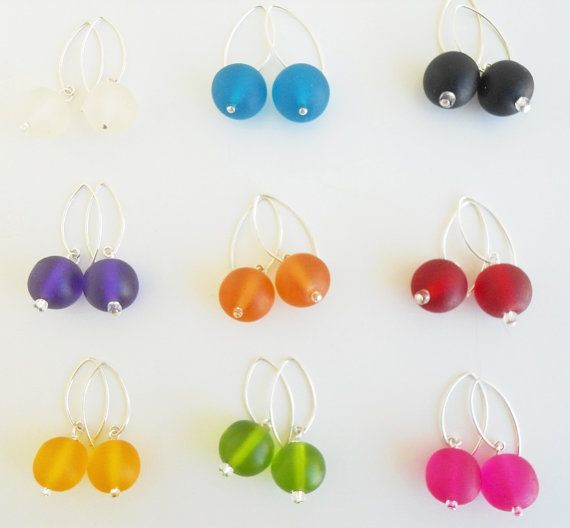 Earrings resin ball drops on Bali silver hooks