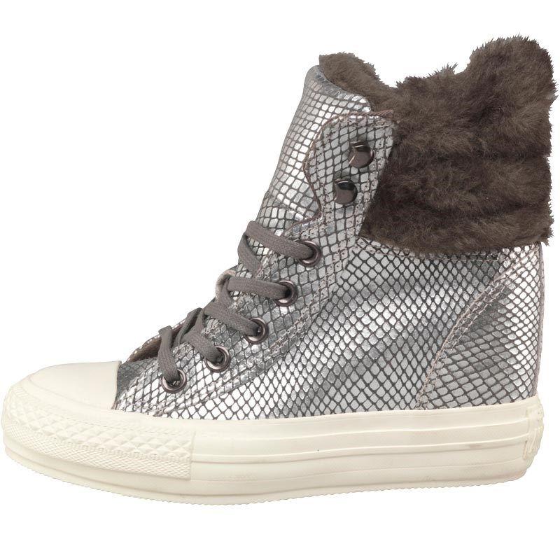 639f1d58ac1 Converse Womens CT All Star Hi Platform Plus Faux Fur Collar Trainers  Metallic White