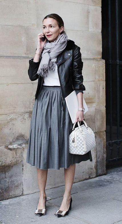 pleated-midi-skirt-bow-heels-moto-jacket-black-leather-jacket ...