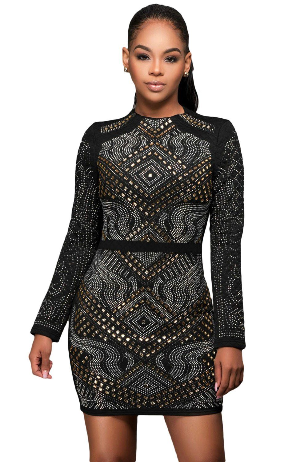Black mini jeweled quilted long sleeves dress with images