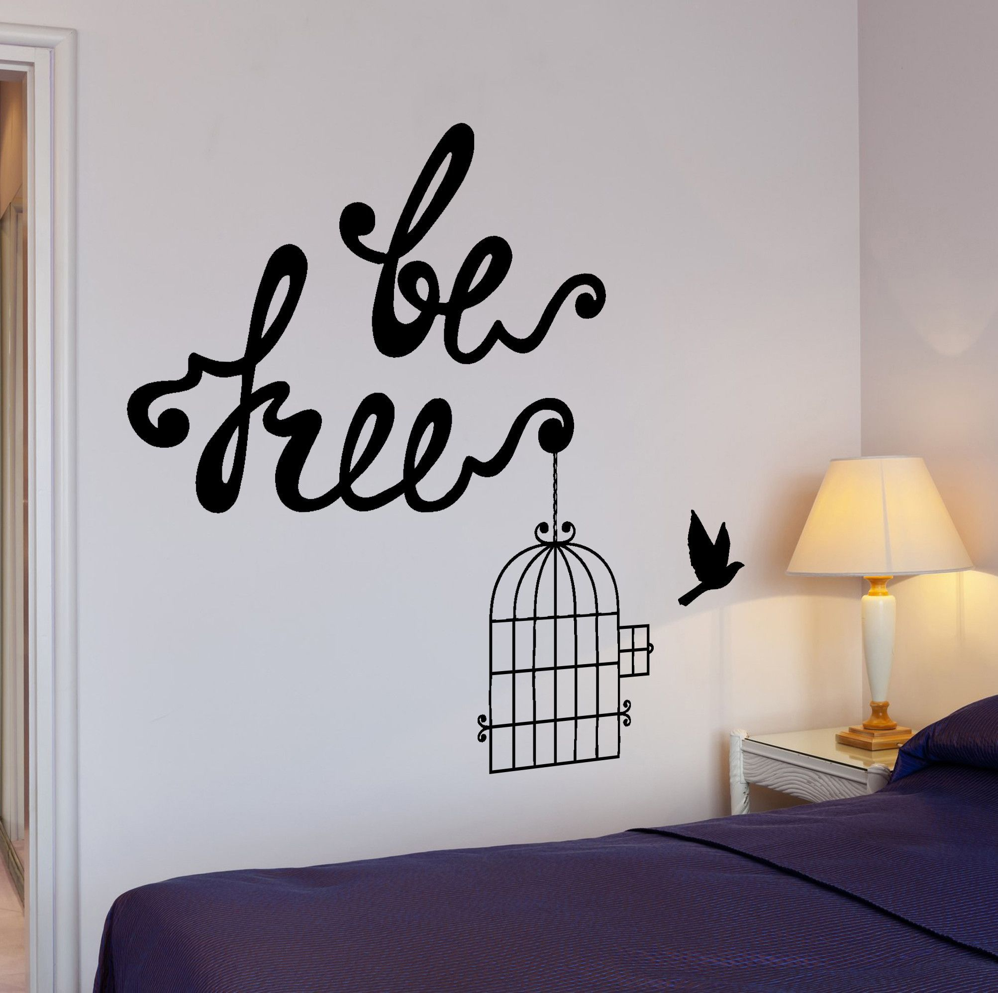 Wall vinyl decal motivation quote be free birds quote home interior