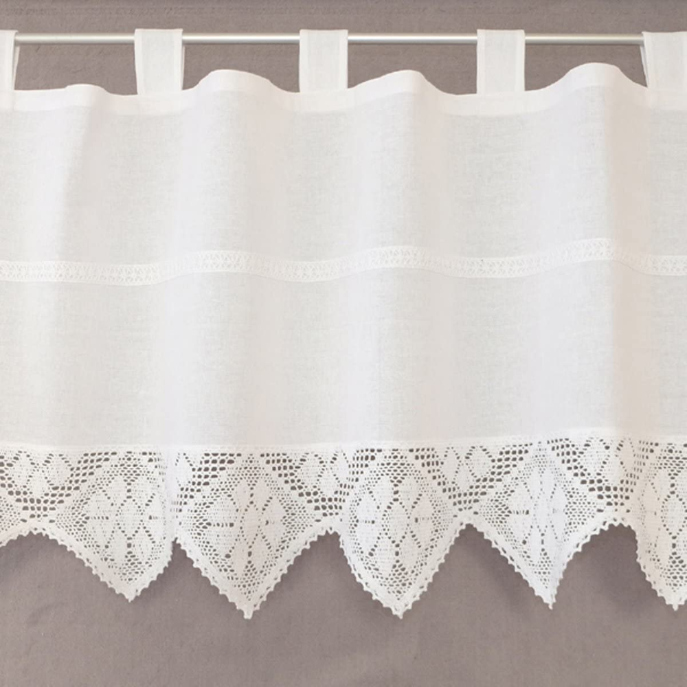 Heimtexland Typ521 Crochet Curtain And Crochet Cushion White Country House Panel Curtain Cushion Cover With Crochet In 2020 Bistrogardinen Spitzenvorhange Gardinen
